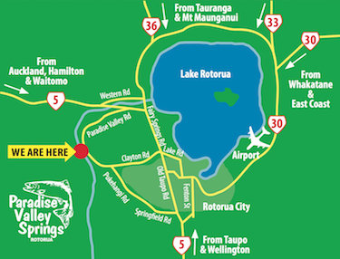 Map Of Rotorua New Zealand.Visit Info Paradise Valley Springs Wildlife Park
